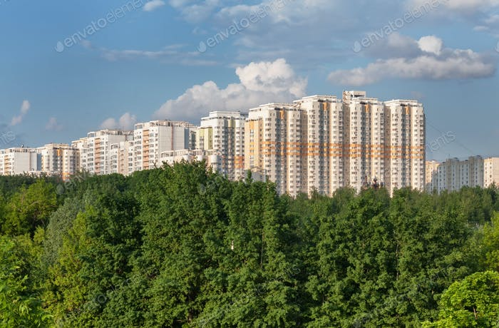 Modern multistorey apartment buildings for the forest canopy