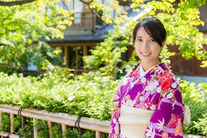 Japanese Woman wearing japanese kimono