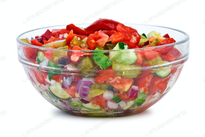 Glass bowl with vegetable salad