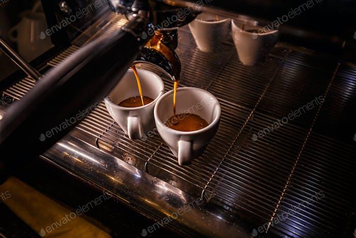 Brewing two espresso's