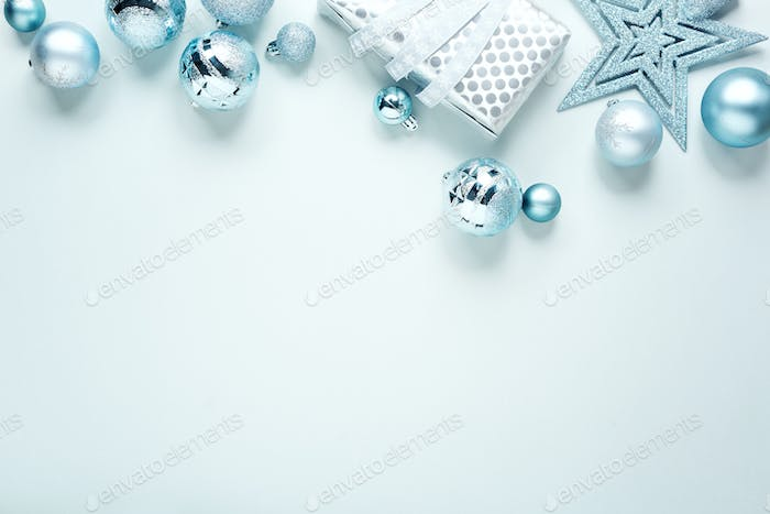 Blue Christmas Flat Lay Background