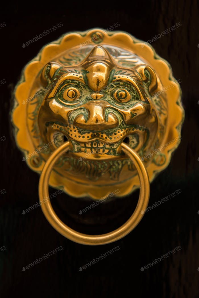 Ornate golden lion head door knocker in Malta