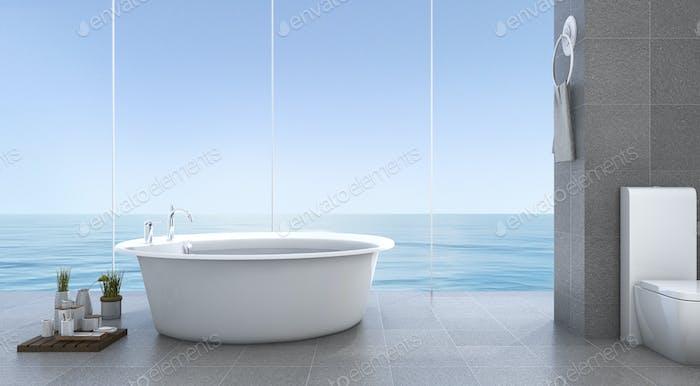 3d rendering bright minimal bathroom near sea