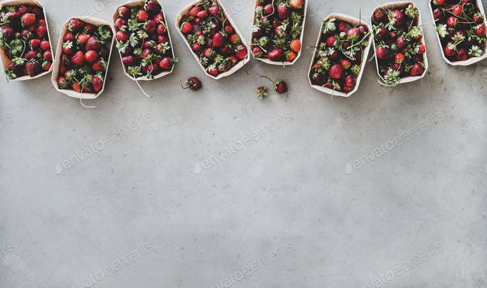 Fresh strawberries in plastic-free boxes over grey background, copy space