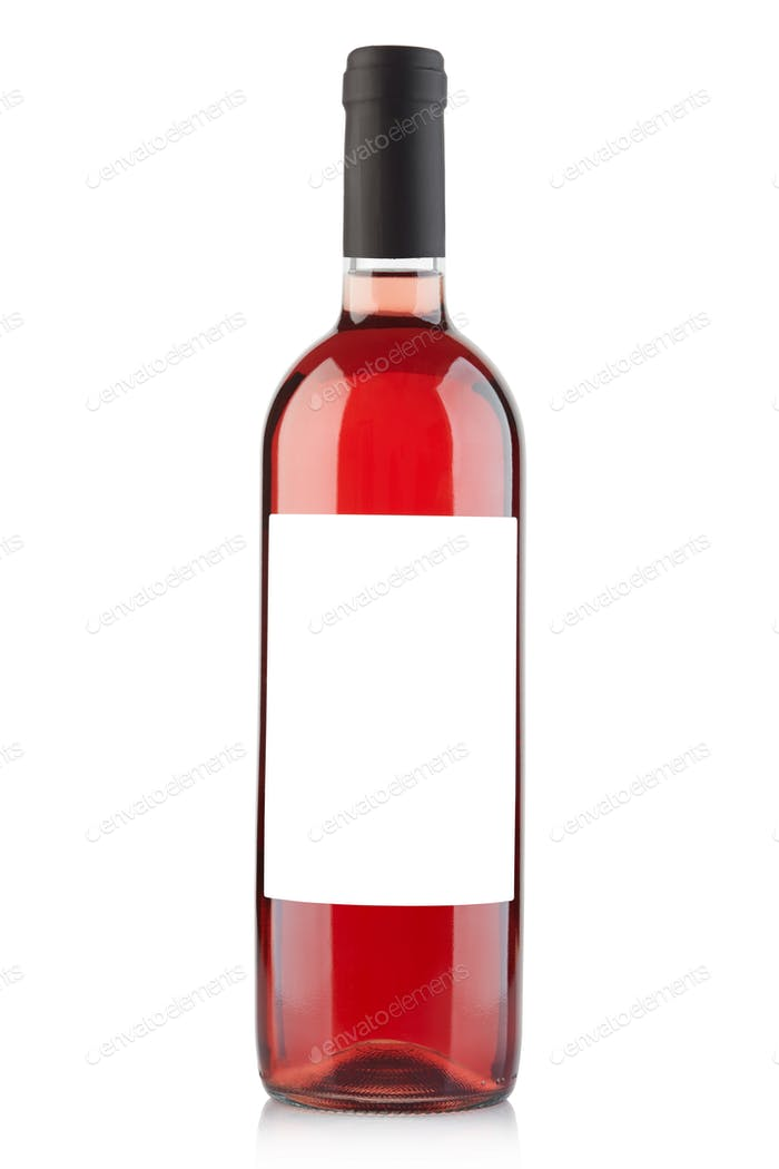 Rose wine bottle with blank label isolated on white, clipping pa