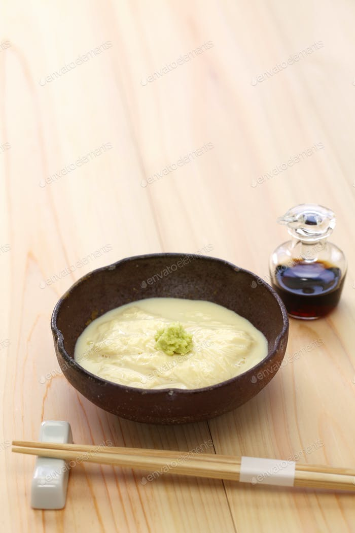 Yuba (tofu skin) sashimi, japanese vegetarian food