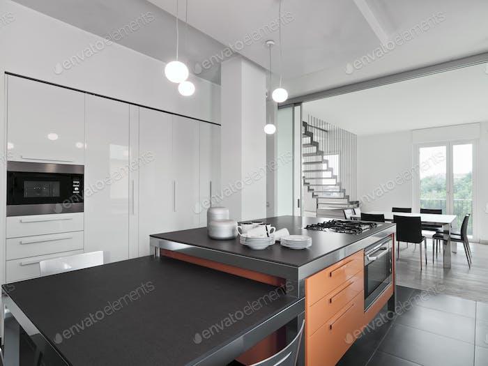 Interiors of the Modern Kitchen with Island Kitchen