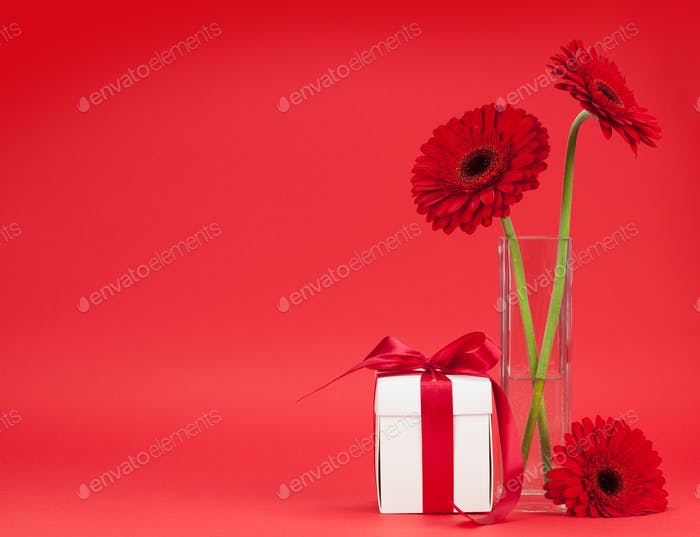 Valentines day gift box and gerbera bouquet