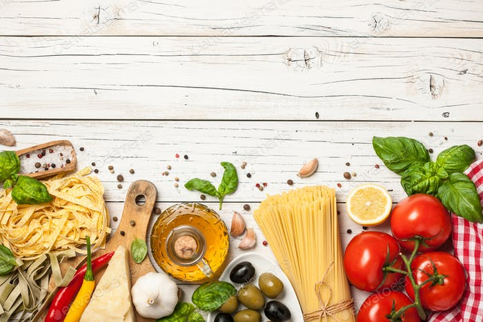 Italian cuisine concept. Food ingredients for cooking