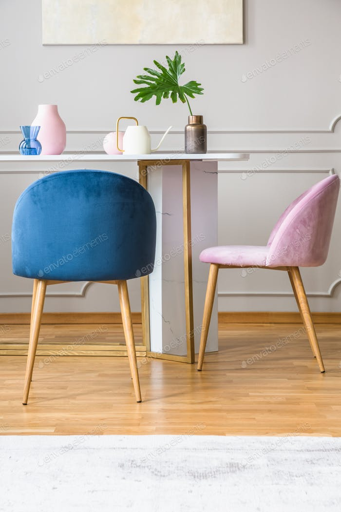Pink and blue arrangement in dining room