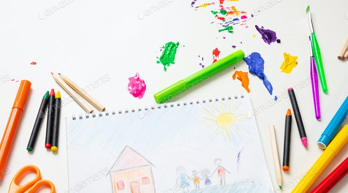 Colorful paints and family home drawing on white color background, top view