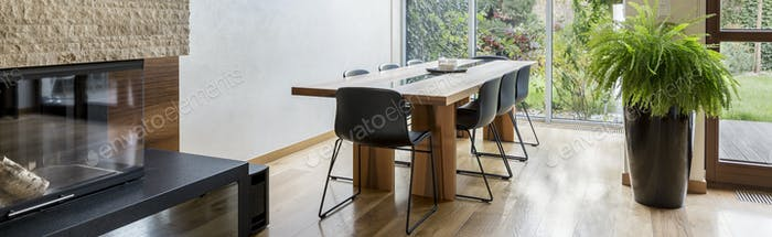 Dining area with communal table