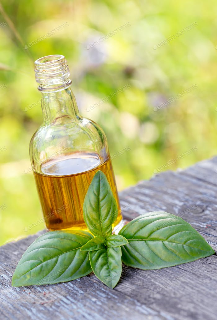 Olive oil and basil