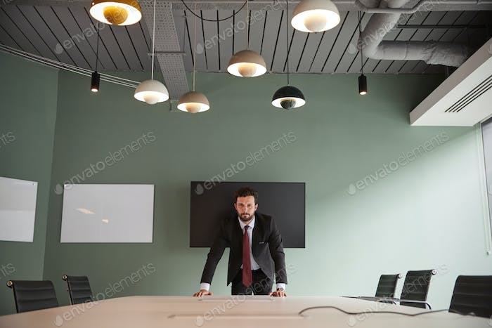 Portrait Of Young Businessman Leaning On Boardroom Table