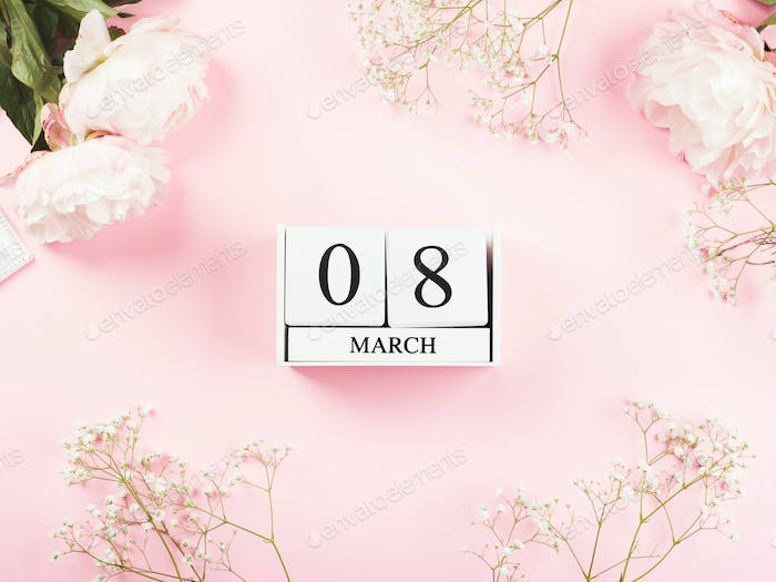 Beautiful pink floral background with peonies