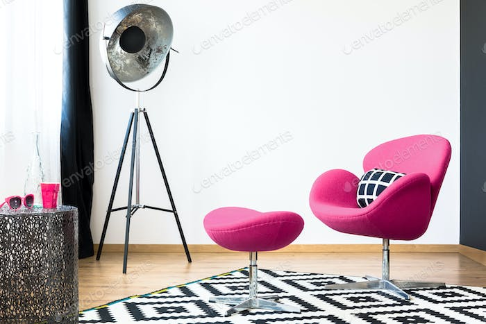 Pink armchair and stool