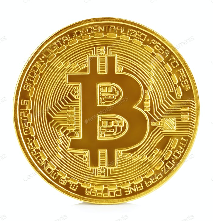 Golden bitcoin isolated on white background. New virtual money.