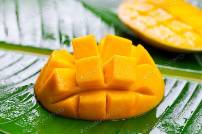 Fresh Mango on Green Palm Leaf. Close up,