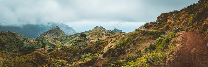Mountain range of Ribeira de Janela on Santo Antao Cape Verde