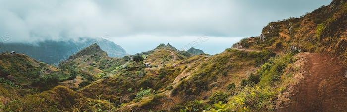 Mountain range of Ribeira de Janela on Santo Antao Cape Verde