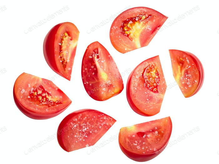 Tomato chunks halved slices salted