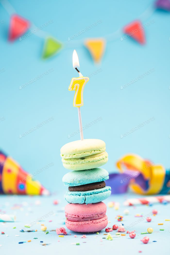Seventh 7th Birthday Card with Candle in Colorful Macaroons and