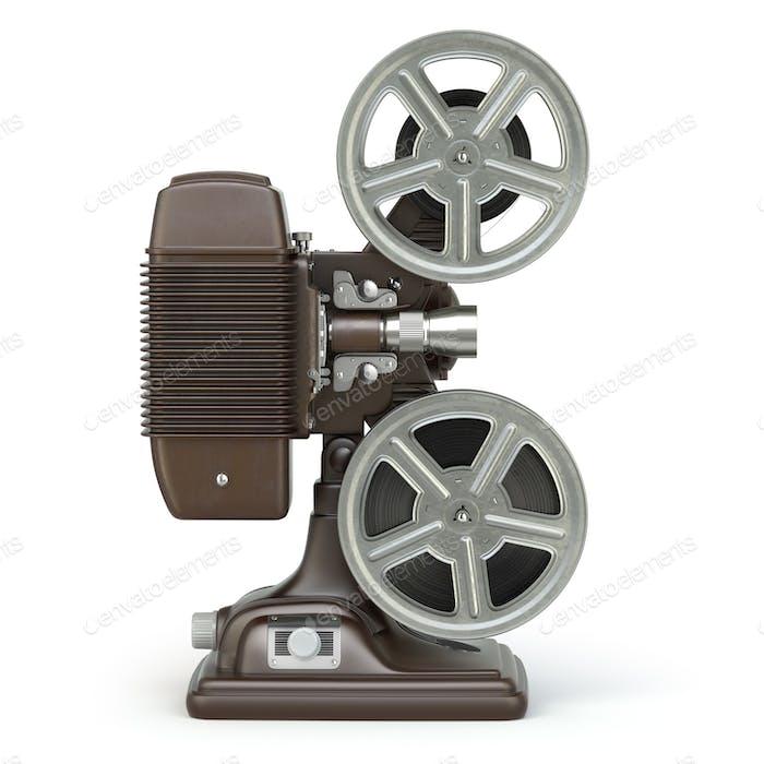 Vintage-Filmprojektor isoliert auf weiß.