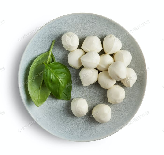 plate of mozzarella cheese balls