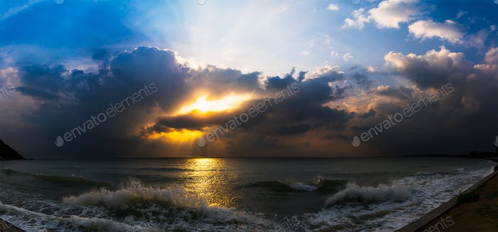 Sunset with dramatic cloud over sea-4