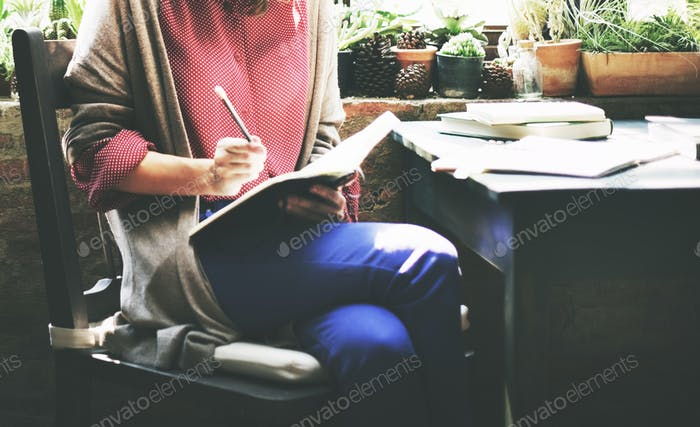 Woman Working Writing Notes Detail Concept