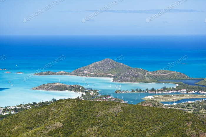 Antigua Coastline High Angle View