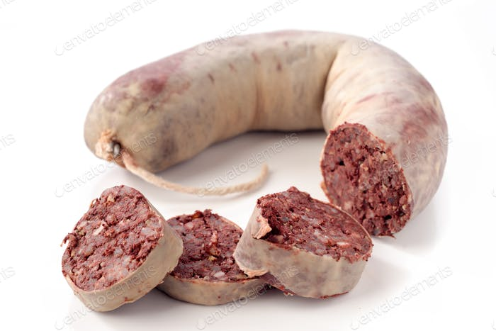 black pig blood sausage isolated on white background