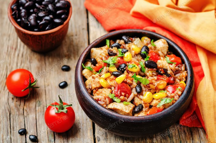 Black beans, corn and tomato red and white rice with chicken