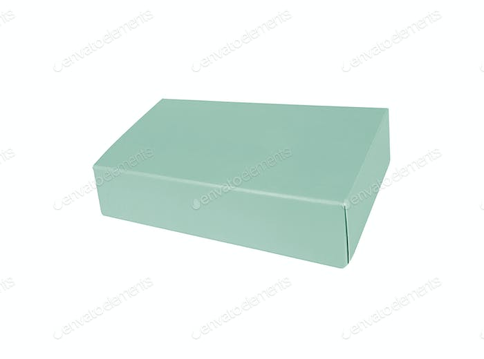 view of empty blue gift box on white background