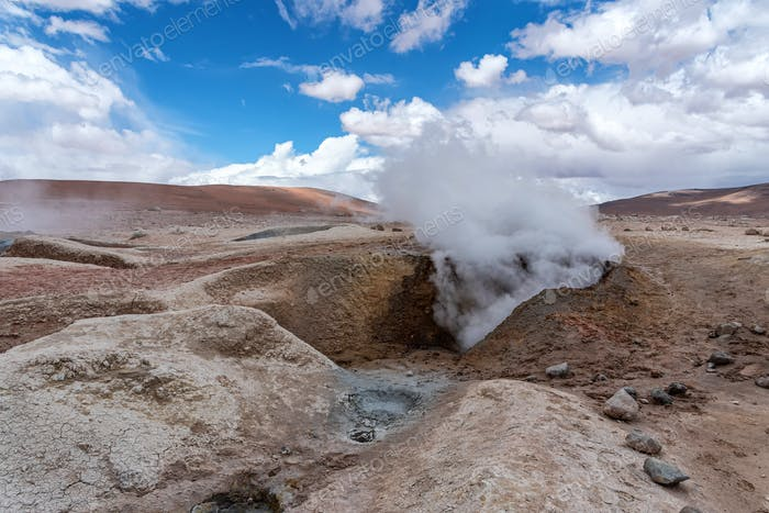 Mud pits with volcanic activity in the Andean Highlands