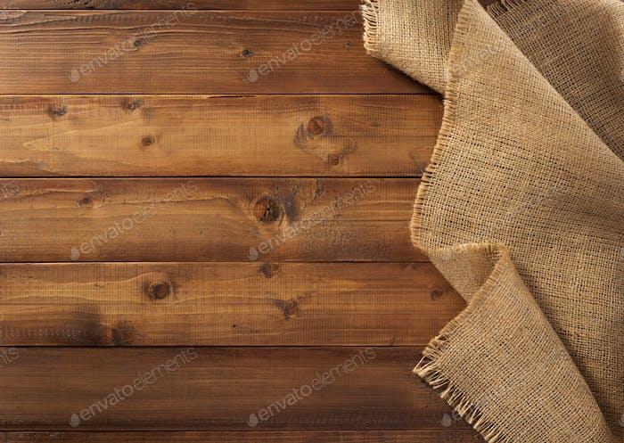 burlap hessian sacking on wood