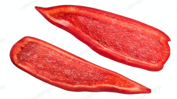 Red bell pepper pieces slices