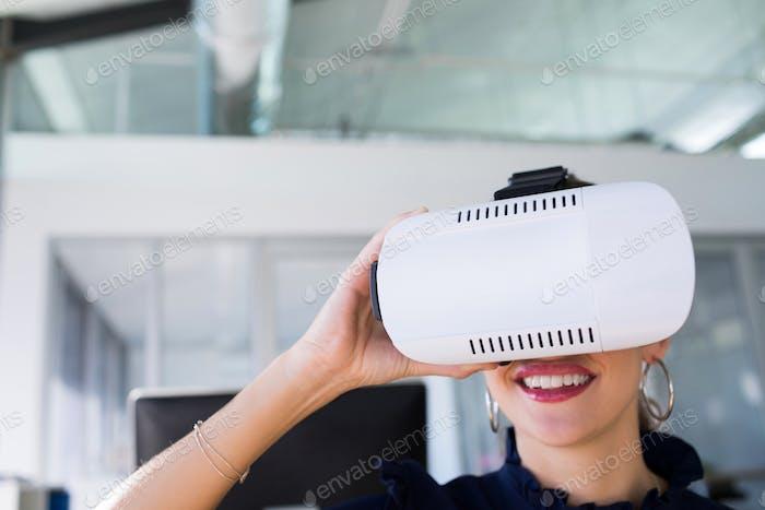 Thumbnail for Female executive using virtual reality headset
