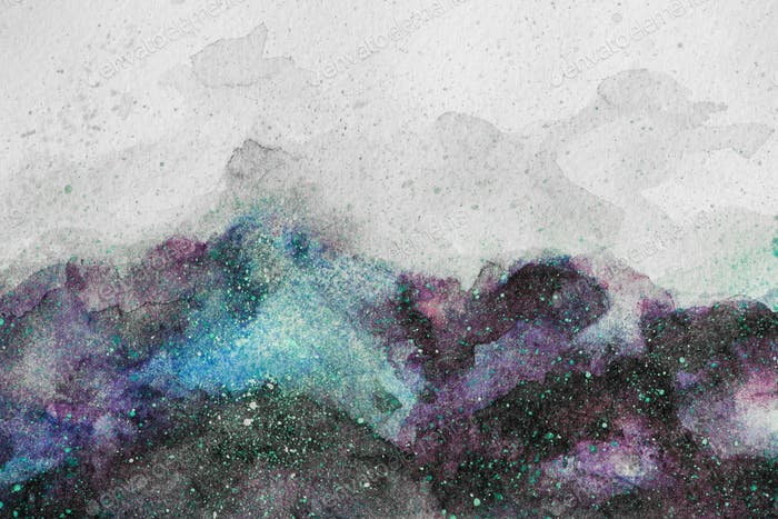 universe painting with purple and green watercolor paints on white background