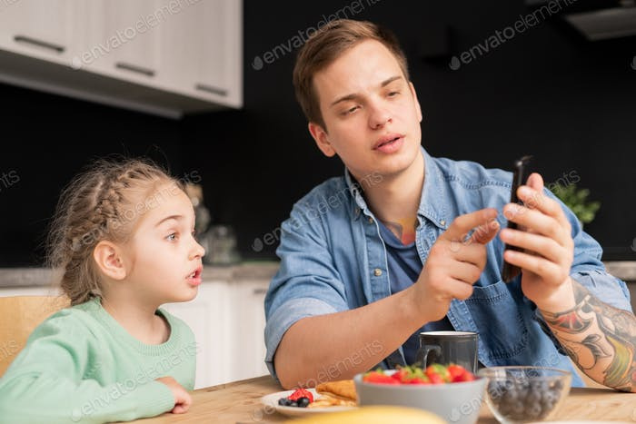Discussing internet video with daughter