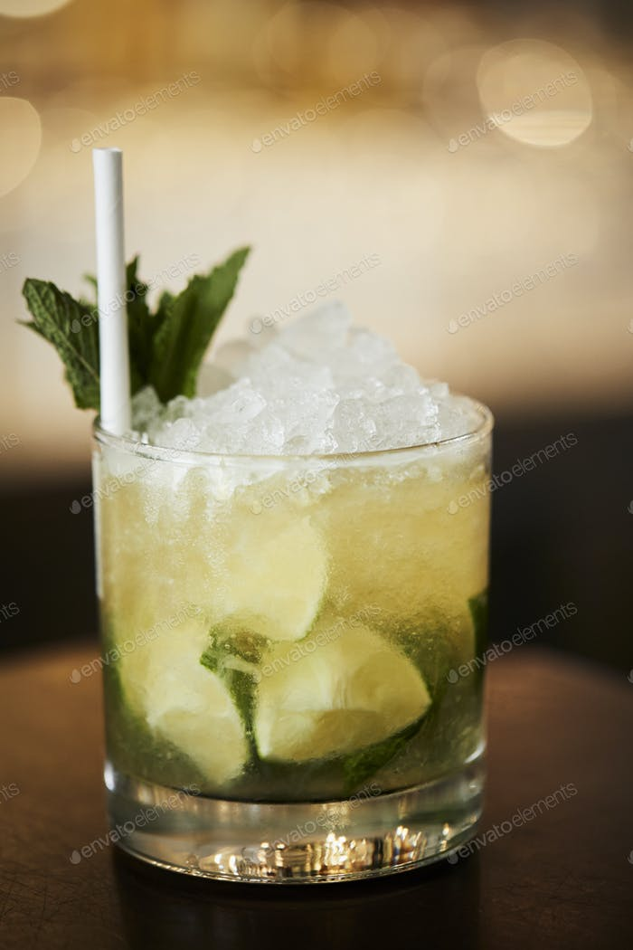 Close Up Of Mojito Cocktail On Bar Counter