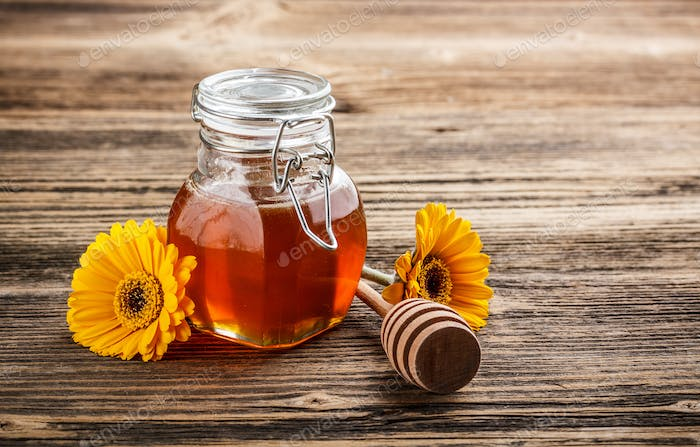 Sweet honey in jar
