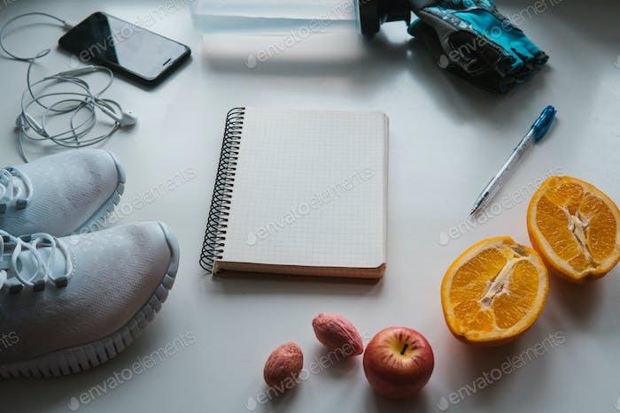 Entrenamiento y fitness, Planificación de control de la dieta Concepto.