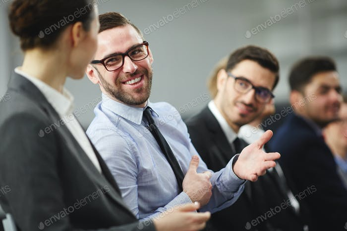 Talking to young attendant