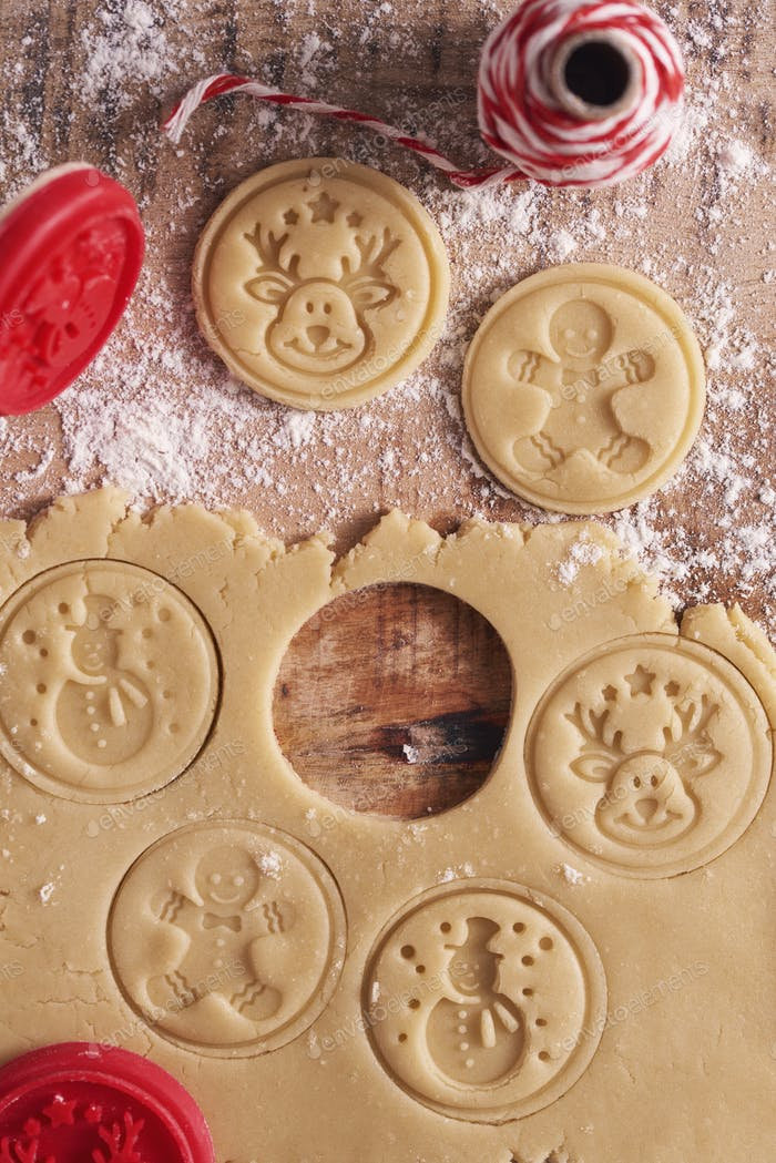 Directly above shot of sweet gingerbread cookies