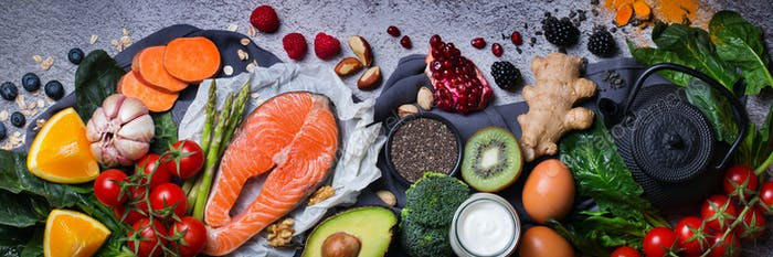Assortment of healthy food, superfood ingredients for cooking on table