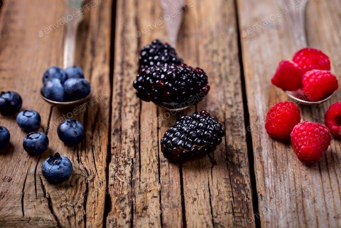 Berries on a vintage spoon