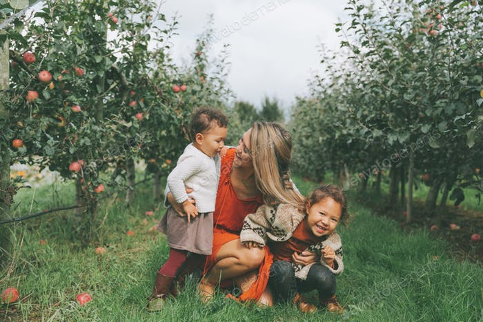 Family in the Apple Orchard