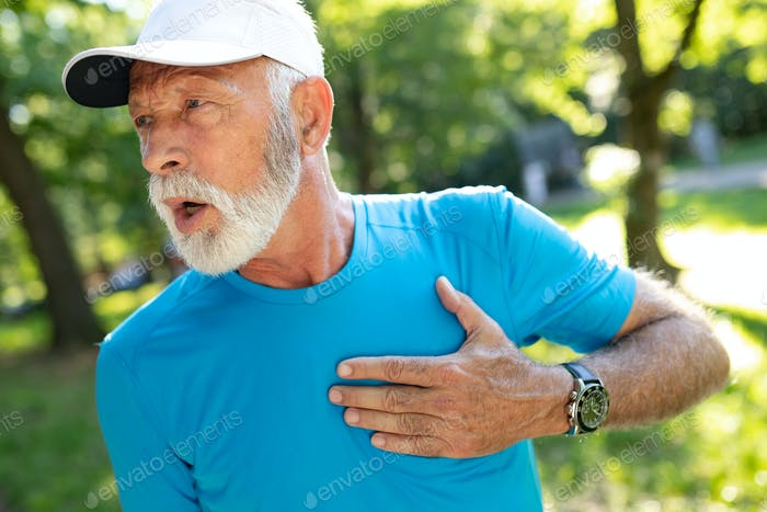Mature man athlete have sore left chest pain dizziness