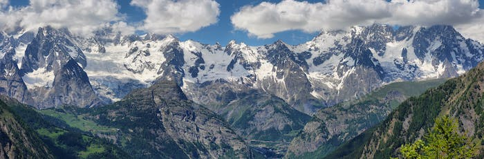 Panoramic view of Mont Blanc and other peaks from Aosta Valley, Italy